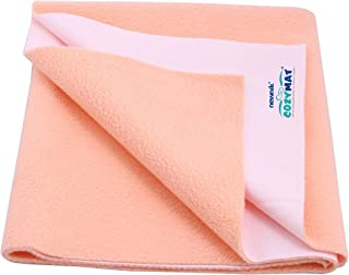 Cozymat Dry Sheet Waterproof Breathable Bed Protector (Size: 70cm X 50cm) Peach, Small