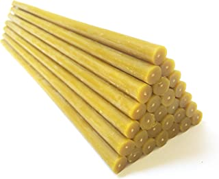 Natural Pure Beeswax Candles Organic Honey Eco Candles in Gift Box (Natural Cotton Wicks, Dripless, Smokeless, Not Ear Candles) (Yellow, 12 Inches (30 cm) 25pcs)