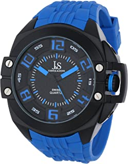 Joshua & Sons Men's Black Dial Silicone Band Watch - Js-39-Bu, Multicolour Band, Analog Display