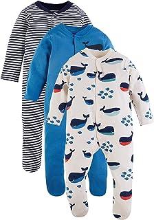 Marks & Spencer Baby Boys 3 Pack Organic Cotton Nautical Sleepsuits, Blue Mix