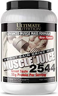 Ultimate Nutrition Muscle Juice Weight and Muscle Gainer Protein Powder - Gain Weight Fast with 55g Protein 162g Carbs and 1020 Calories Per Serving, Cookies N Cream, 5 Pounds