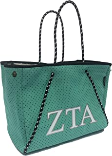 Zeta Tau Alpha ZTA Sorority Fraternity Neoprene Tote Bags Purses Totes Fall School Overnight Gym Studio Office Travel Beac...