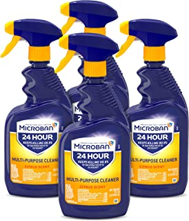 Microban Disinfectant Spray, 24 Hour Sanitizing and Antibacterial Spray, All Purpose Cleaner, Citrus Scent, 4 Count, 22 fl...