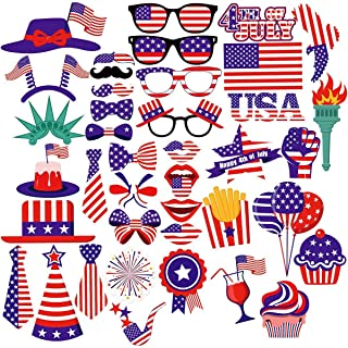 LASLU 4th of July Photo Booth Props Patriotic Party Props for American Flag Veteran's Day Independence Day Decorations, Pack of 40