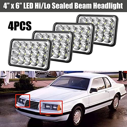 discount 4x6 Inch LED Headlight 3750Lm 6000K Hi/Lo Beam H4651 H4652 H4656 H4666 H6545 online discount Pack of 4 for Ford LTD/Mustang/Thunderbird/Granada – 3 Years Warranty outlet online sale