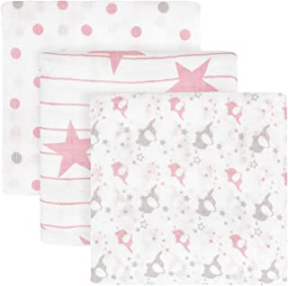TILLYOU Muslin Swaddle Blankets Set for Girls 3-Pack, 100% Soft Bamboo Cotton Receiving Blankets, Lightweight Stroller Crib Blanket for Infant Newborn Babies, Pink Elephants/Stars/Polka Dots, 47x47