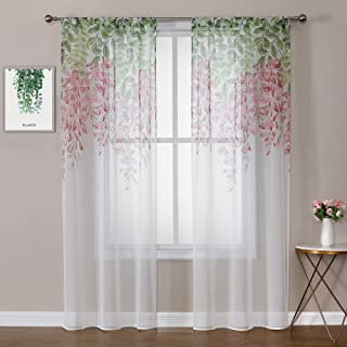 WUBODTI 1 Panel of Floral Printed Semi Sheer Voile Tulle Fabric Curtain Panels Faux Linen Look Window Treatments Curtains ...