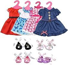 Lance Home Ropa de Muñeca, 4 Falda, 4 Zapatos y 4 Perchas para 18 Pulgadas Muñecas American Girl, Accesorios Ropa Vestido Falda
