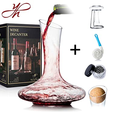YouYah Wine Decanter Set with Drying Stand,Stopper,Brush and Beads,Red Wine Carafe,Wine Gift,Wine Aerator,Wine Accessories,Hand Blown 100% Lead Free Crystal Glass(Classic)