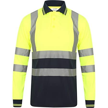 YCC® Polo de manga larga para hombre, de alta visibilidad, seguridad de trabajo, transpirable, dos tonos, cinta reflectante ligera, ropa de trabajo