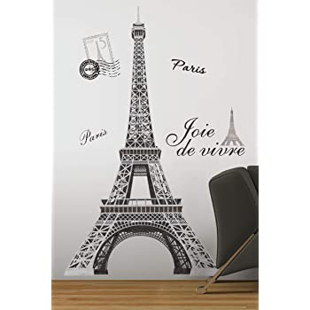 RoomMates Eiffel Tower Peel and Stick Giant Wall Decal - RMK1576GM, Multi,55.75 inch x 32.5 inch