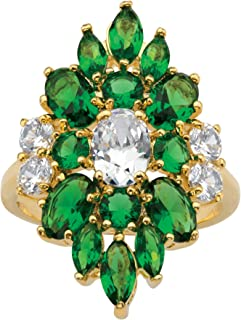 Palm Beach Jewelry 14K Yellow Gold Plated Oval Cut Cubic Zirconia and Oval Green Simulated Emerald Floral Ring
