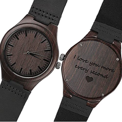 KOSTING Engraved Wooden Watch Anniversary Gifts for Men, Personalized Gifts for Husband Boyfriend Men Leather