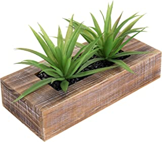MyGift 10-inch Artificial Green Grass Plants in Decorative Rustic Brown Wood Rectangular Planter Pot