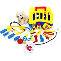 20-Piece Kids Dog Vet Groomer Set w/ Puppy Plush Carrier Tools