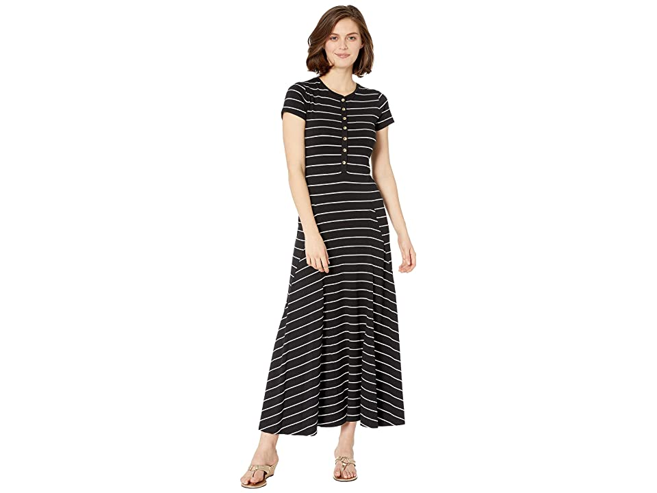 LAUREN Ralph Lauren Jersey Striped Maxi Dress (Polo Black/Silk White) Women