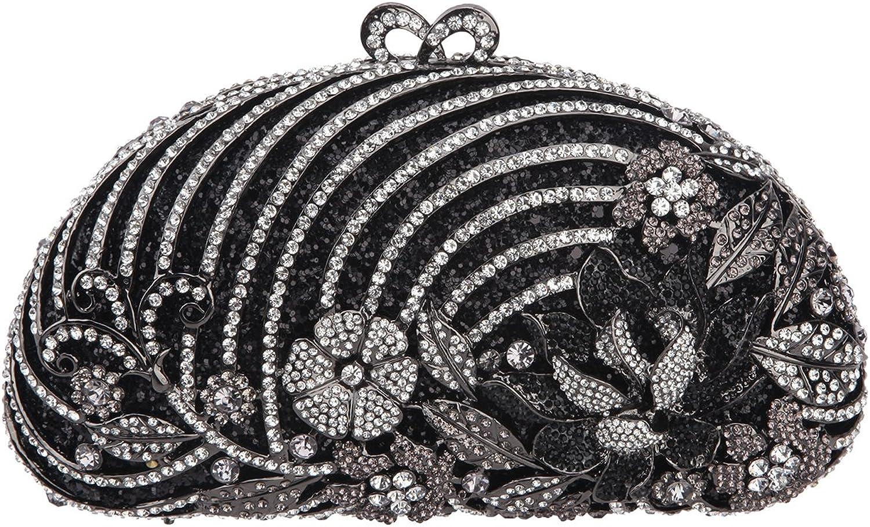 Bonjanvye Glitter Studded Floral Clutch Evening Bags for Girls Clutch Handbags and Purses