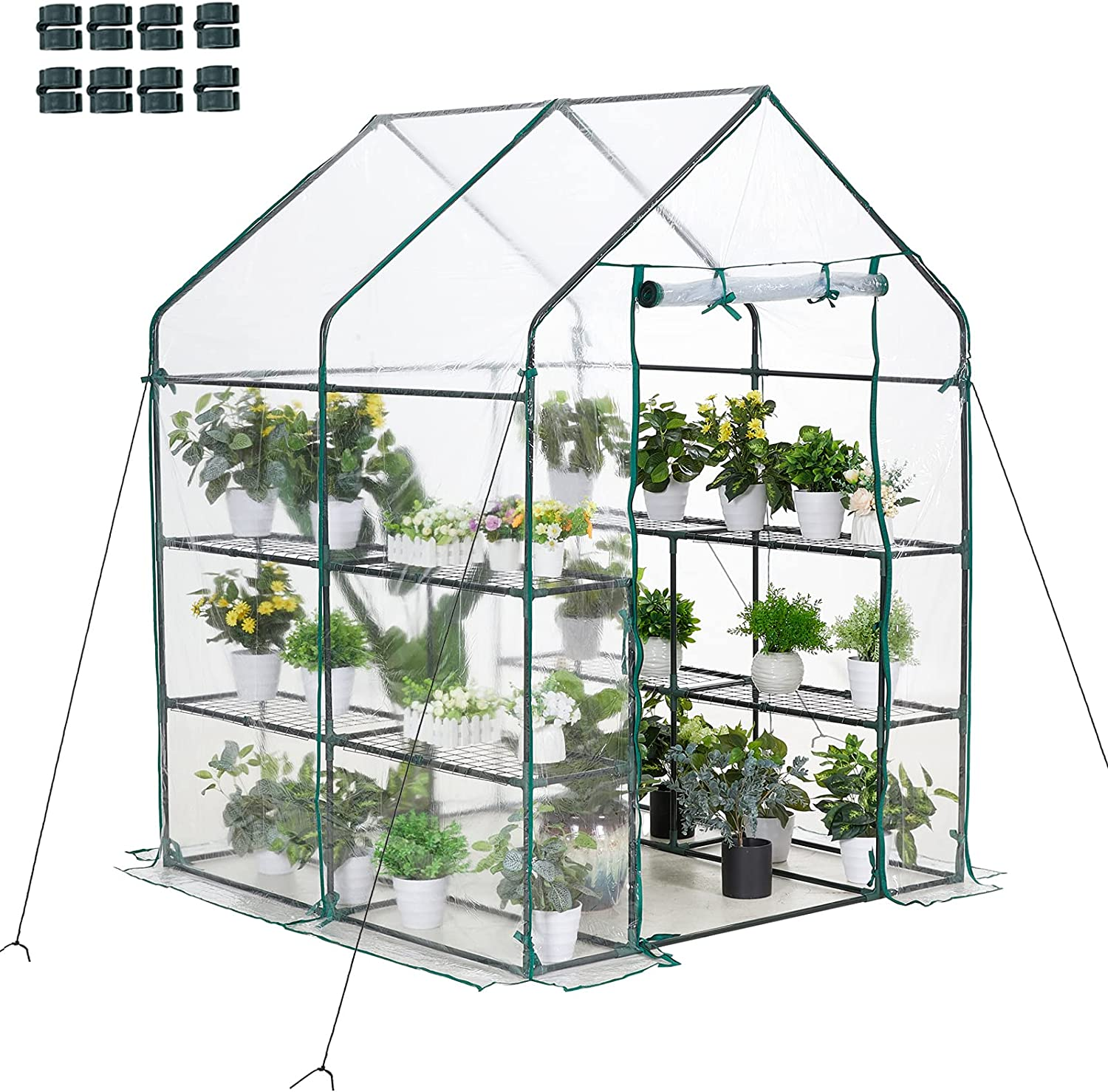 AMERLIFE Walk-in Greenhouse Hot House 77x56x56 Inch Indoor Outdoor 3 Tier 8 Shelves with PVC Cover and Roll-Up Zipper Door Extra 4 Hooks and Wind Ropes 8 Net Rack Buckles