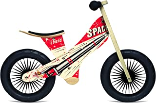 Kinderfeets Retro - Wooden Balance Bike with Foot pegs, Adjustable seat and EVA airless Tires.