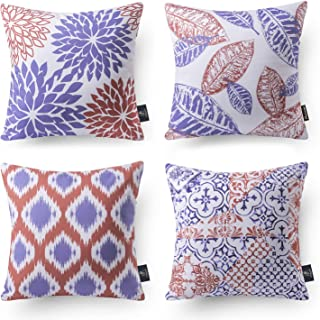Phantoscope Set of 4 New Living Series Decorative Blue and Orange Throw Pillow Case..