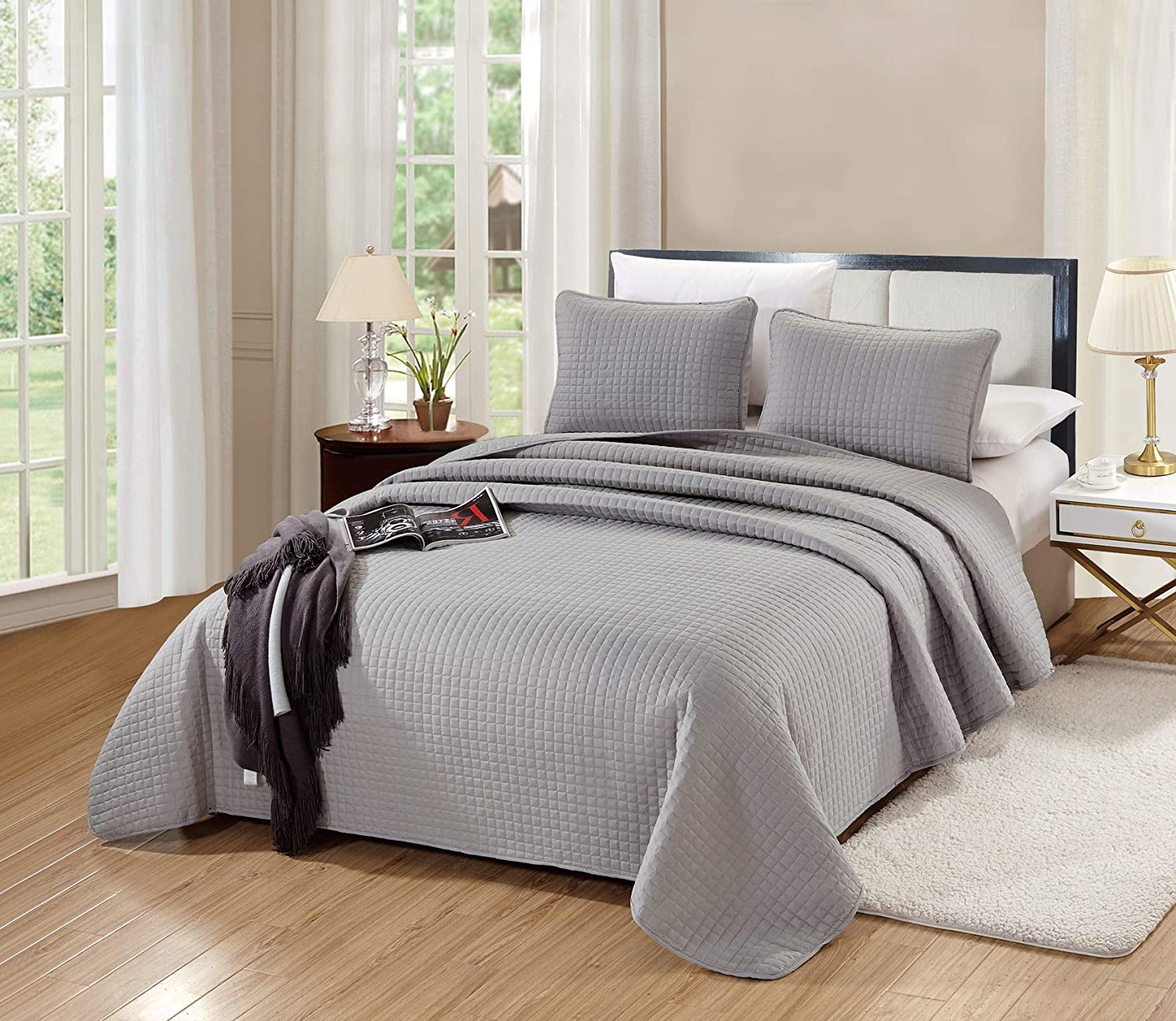 GrandLinen New Free Shipping 3-Piece Bedding Florence Quilt Qu Solid Sale special price Grey Gray Set