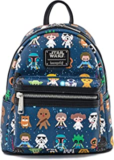 Loungefly Star Wars Character Cutesy AOP Mini Faux Leather Backpack ,Multi-Colour