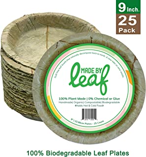 MadeByLeaf 9 Inch 100% Biodegradable Compostable Zero Waste Disposable Plates, Eco Friendly, Fully Natural Leaf Plates Pack, Multi Use (25)