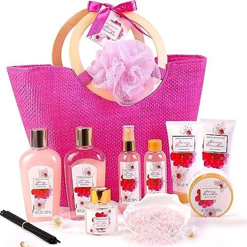 Coffret Bain au Parfum de Fleurs de Cerisier, 11 PCS Coffret Cadeau Femme, Comprend Sel de Bain, Gel Douche, Bain Mou...