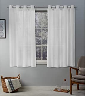 Exclusive Home Curtains Belgian Sheer Grommet Top Panel Pair, White, 50x63, 2 Piece