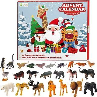 D-FantiX Kids Animals Figures Toys Advent Calendar 2021 Realistic Animal Figurine Toys Christmas Advent Calendar Xmas 24 D...