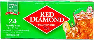 Red Diamond Naturally Decaffeinated Tea Bags Family Quart Size, 24 Count (Pack of 6) (Makes 144 Quarts)