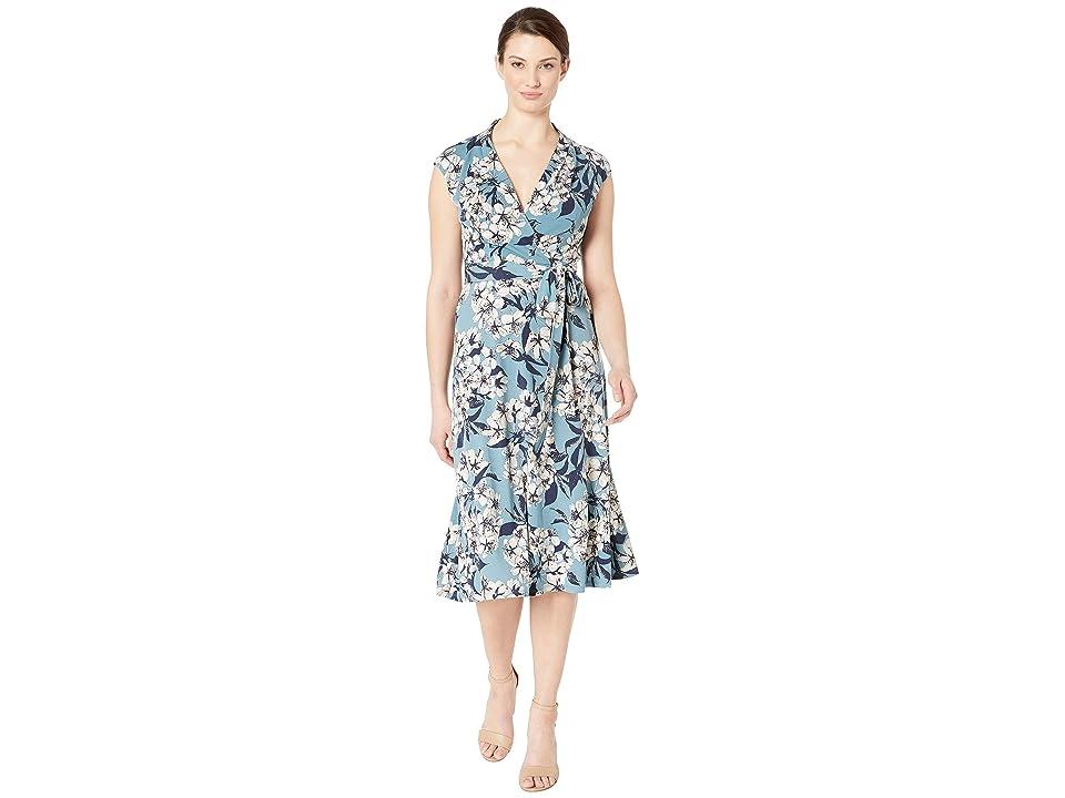 London Times Surplus Midi Dress w/ Self Sash (Blue Multi) Women