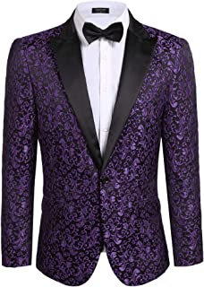 103d59958e11f8 COOFANDY Men's Floral Party Dress Suit Stylish Dinner Jacket Wedding Blazer  Prom Tuxedo