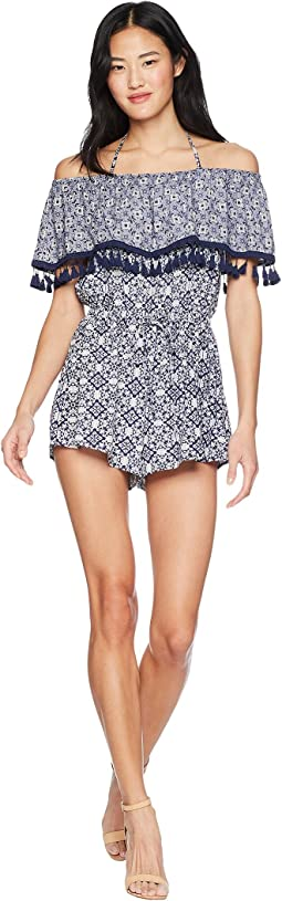 "Genesis ""Ikat"" Printed Romper with Tassel Trim"