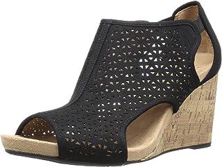 LifeStride Women's HINX 2 Wedge Sandal, Black, 6 W US