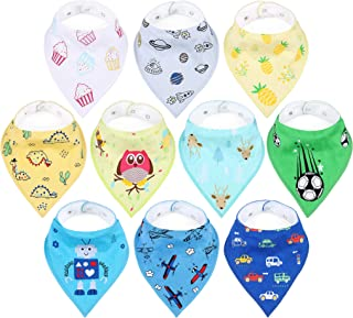 Unisex Bandana Drool Bibs for Baby Boys & Girls 100% Natural Cotton Personalized Patterns 10-Pack Shower Gift Set 2 Snaps Absorbent and Hypoallergenic Burp Cloths for Infant Feeding and Teething