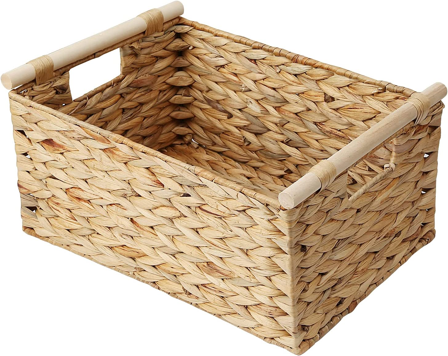 BSTNASI Water Hyacinth Storage Baskets Handle Wooden overseas with Hand-W Beauty products