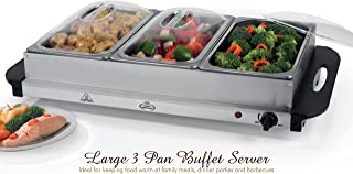 Home N Kitchenware Collection Large 3 Pan Electric Buffet Server, Chafer Stainless Steel, Removable Warming Pans, 300W