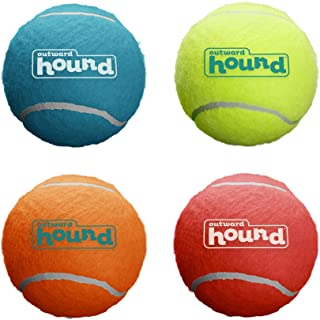 Outward Hound Squeaker Ballz Squeaky Tennis Ball Dog Toys Medium, 4 Pack