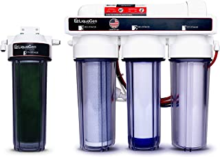 LiquaGen New Super Flow Reverse Osmosis and Deionization RO/DI Water Filter System | Pressure Gauge with Float Valve - 100 GPD