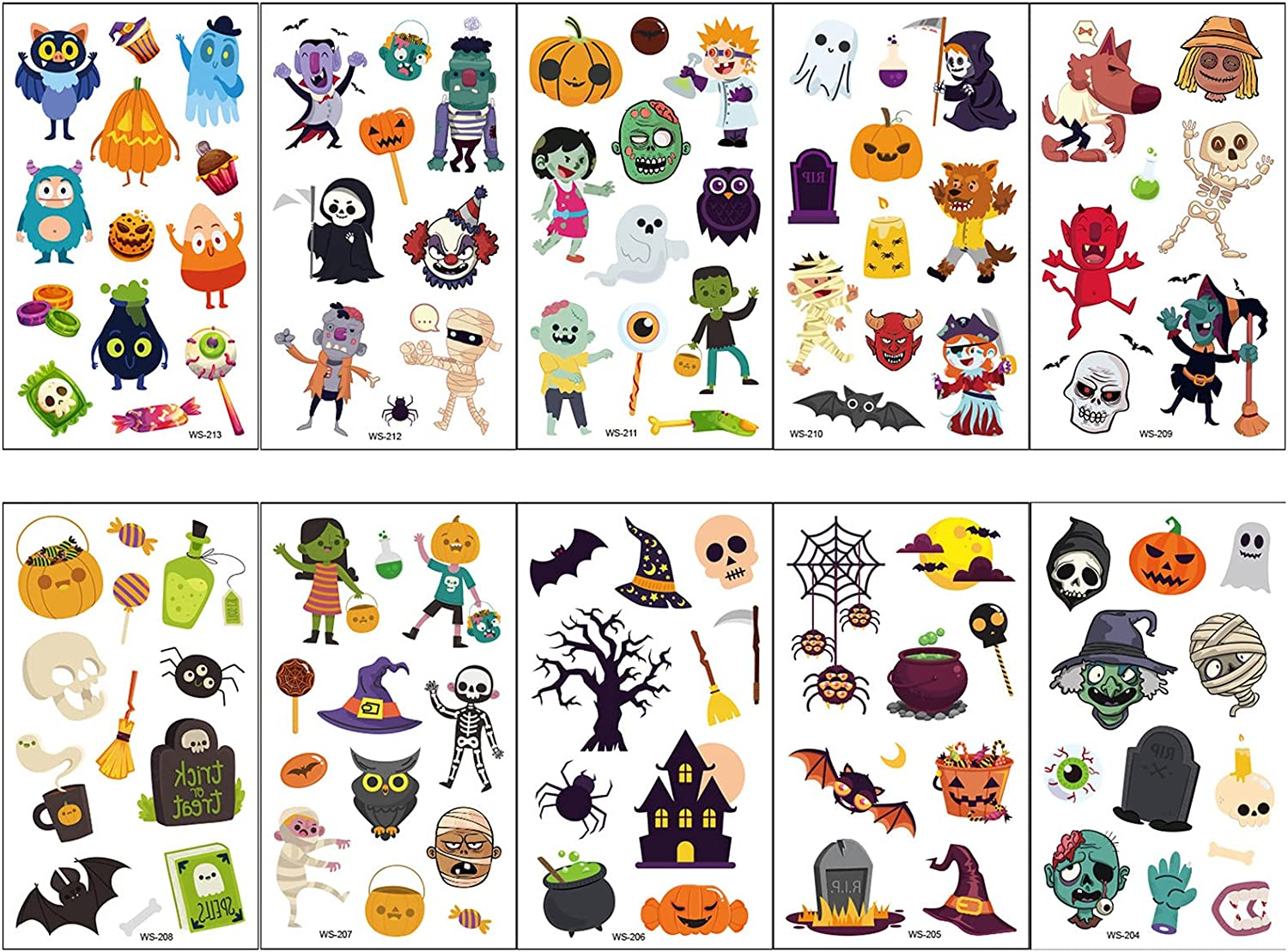 10 Sheets Cartton Branded goods Halloween for Time sale Kids Temporary Tattoos