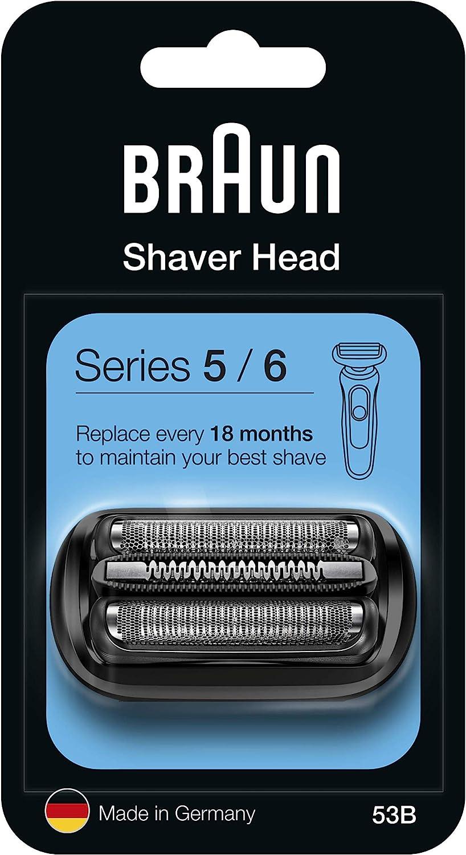 Braun Series 5 53B Cabezal de Recambio Negro para Afeitadora Eléctrica, Compatible con las Afeitadoras Series 5 y Series 6