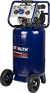 Stealth 20 Gallon Ultra Quiet Air Compressor,1.8 HP Oil-Free Peak 150 PSI 68 Decibel Air..