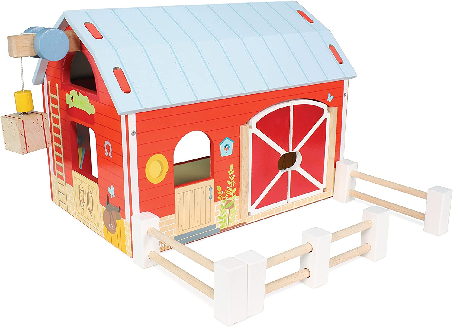 Le Toy Van - Educational Wooden Toy Colourful Wooden Red Barn   Great Interactive Role Play Gifts for A Boy Or Girl - 3+ Years