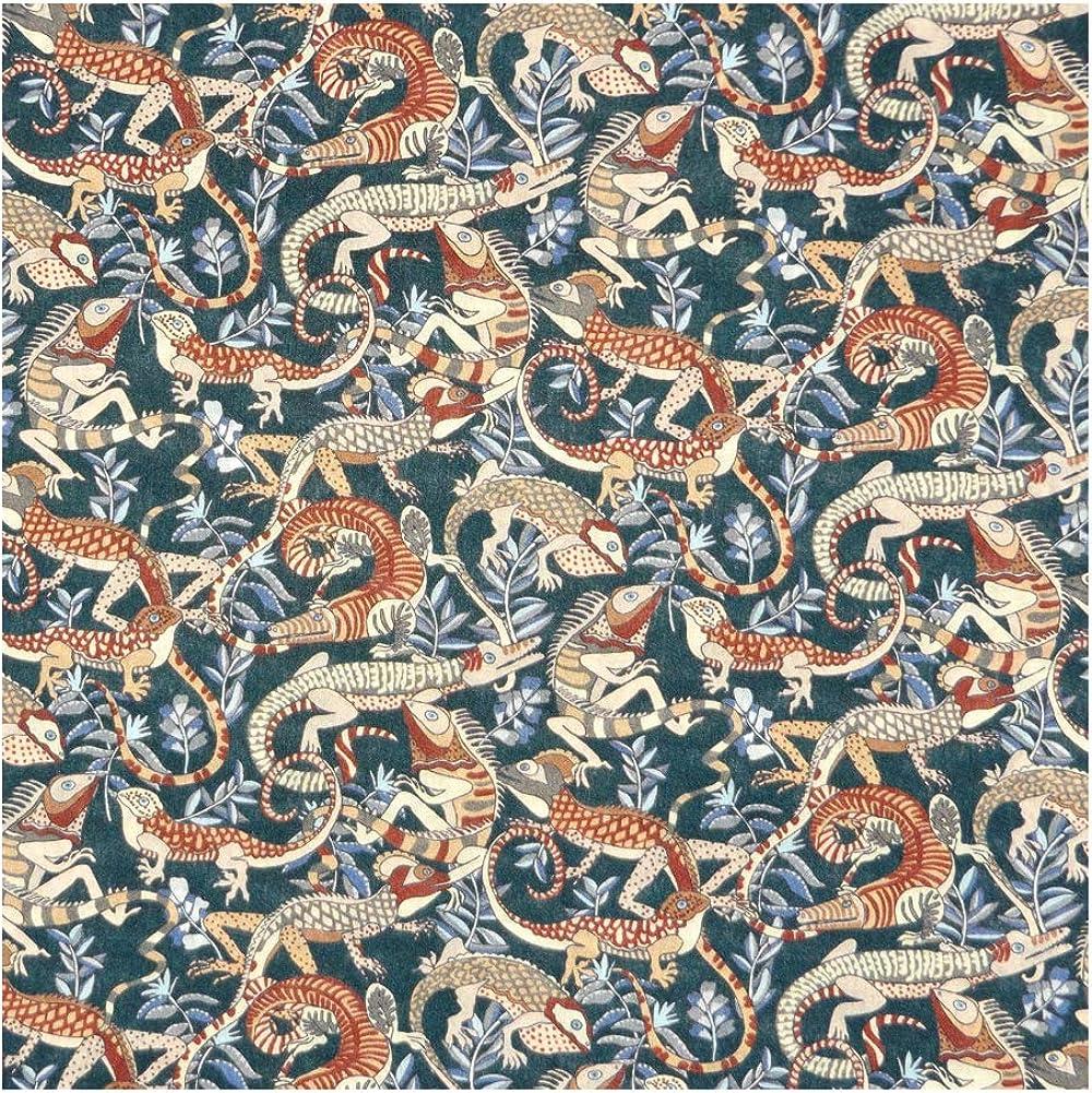 Forest & Rust Playful Gecko Print 'Winston' Liberty Lawn Cotton Handkerchief
