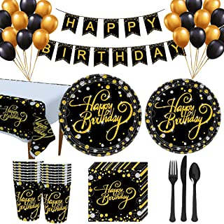 Trgowaul Birthday Party Supplies - Black and Gold Disposable Paper Plates, Napkins, Cups, Tablecover, Forks, Knives and Sp...