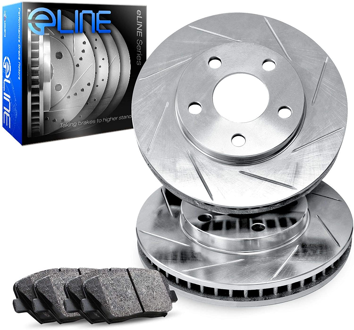 Front Quantity limited R1 Concepts eLine Slotted Rotors Heavy Brake Duty wholesale Kit