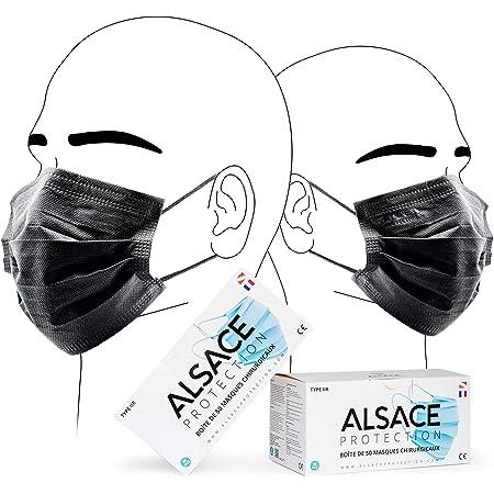 Norme CE Bleu Vivezen /® Lot de 50 masques de protection chirurgicaux jetables