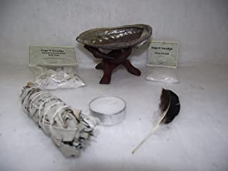 House Blessing Cleansing and Purification Kit Deluxe Smudge Kit White Sage Candle Feather Dead Sea Salt and Gourmet Purification Bath Salts Sage Smudge