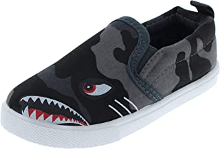 Capelli New York Toddler Boys Dinosaur Printed Slip On Shoes with 3D Appliques